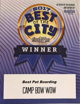 Best of the City Albuquerque Winner. Best Doggie Boarding Award