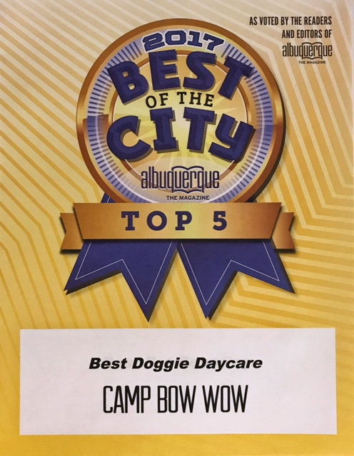 2017 Best of the City Albuquerque Top 5 as voted by the readers and editors of Albuquerque Magazine. Camp Bow Wow Best Doggie Daycare.