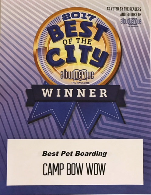 2017 Best of the City Albuquerque Winner as voted by the readers and editors of Albuquerque Magazine. Camp Bow Wow Best Pet Boarding.