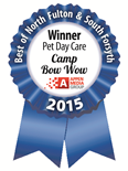 Winne of Appen Media's Best of North Fulton & South Forsyth 2015 For Pet Day Care!