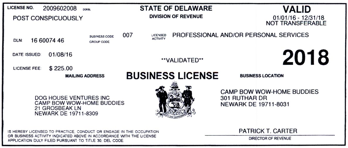 Photo of State of Delaware Division of Revenue, Business License.