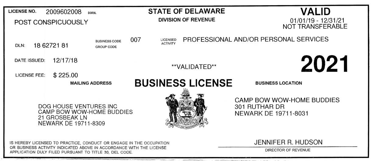 State of Delaware Business License for Camp Bow Wow