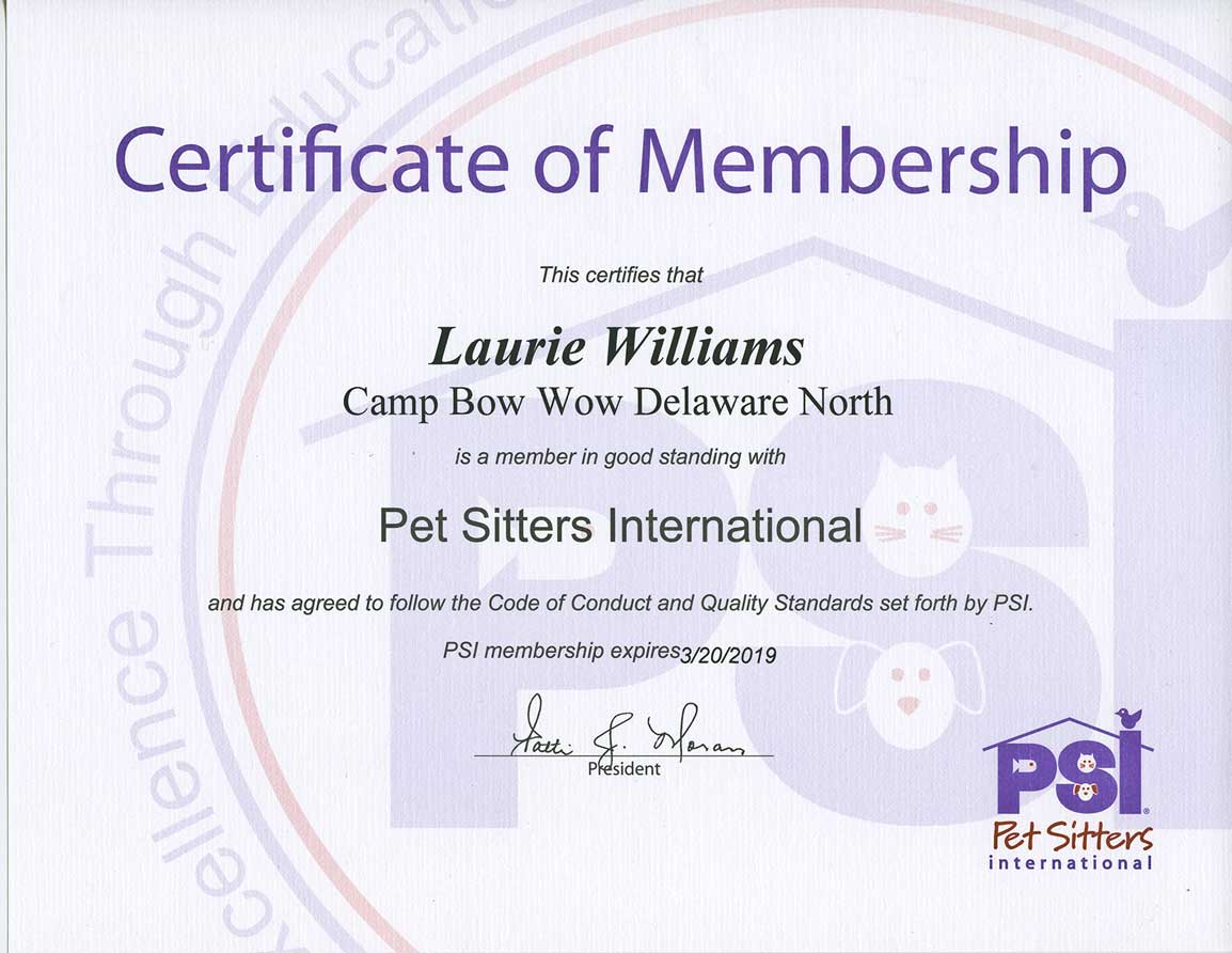 Certificate of Membershop for Lauire Williams is a good standing with Pet Sitter International